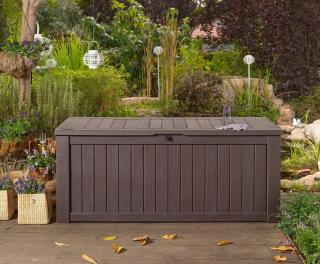 This large, heavy duty storage box comes in a choice of colours & is ideal for storing cushions, garden and pool supplies.