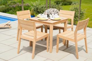 This 0.8m hardwood set has a simple design & the chairs will stack for storage.