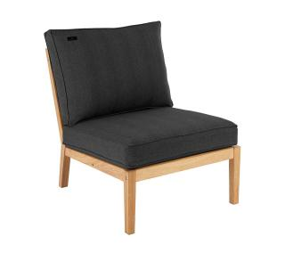 Alexander Rose Roble Lounge Single Modular Chair With Cushion in charcoal