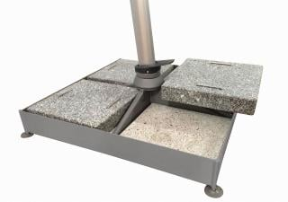 This heavy duty parasol base is made up of a frame with support tube, four concrete slabs & four granite slabs with handles.