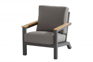 This lounge armchair has an aluminium frame with an anthracite finish & deep filled, grey olefin cushions.