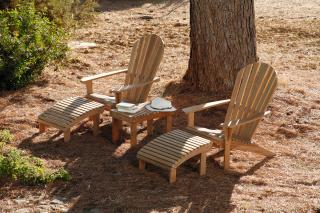Barlow Tyrie Adirondack Teak Armchair Set with Coffee Table