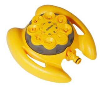 Hozelock Sprinkler - Vortex 8 Dial Sprinkler 2515. Easy to use dial garden sprinkler - 8 patterns to suit all watering shapes and types.