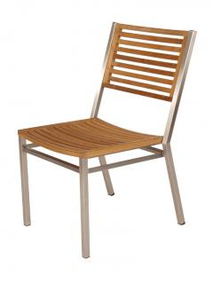 Barlow Tyrie Equinox Stacking Side Chair with Teak Seat and Back