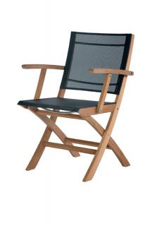 Barlow Tyrie Horizon Folding Carver Chair in Charcoal