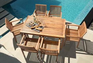 The Barlow Tyrie Linear 150cm Teak Dining Set for Six will last for years.