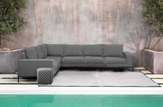 A modular all weather corner set in a choice of colours with quick dry foam & Sunbrella cushions.