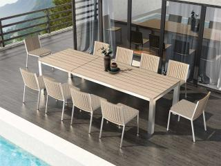 This rectangular weathered teak table with stainless steel frame will extend to seat up to ten with the Monza chairs, choose from dining or armchairs.