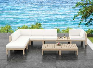 A modular corner set with a weathered teak & stainless steel frame with Sunbrella cushions that can be left out all year.