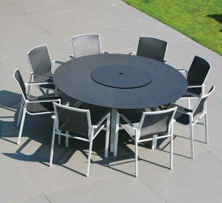 This round aluminium garden set is great for entertaining & comes in a choice of colours.