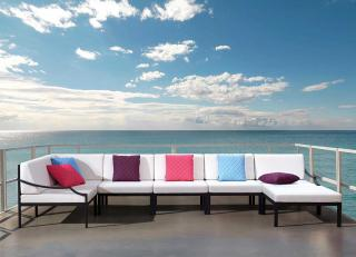 A versatile modular garden set complete with Sunbrella cushions in a choice of colours.