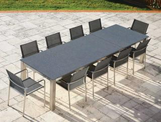 A low maintenance set which will seat between 8 & 12 with a glass table top & sling chairs in a choice of colours.