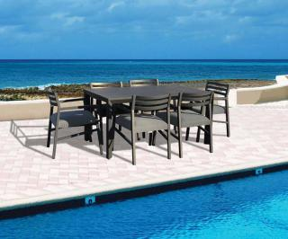 This rectangular aluminium garden set is great for family dining & comes in a choice of colours.