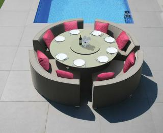 This curved, modular, all weather set has Sunbrella upholstery in a choice of colours with quick dry foam inner.