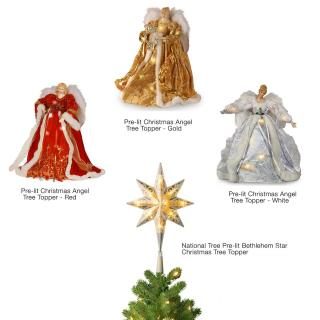 Choose a pre-lit tree topper to grace your Christmas Tree. Will fit pre-lit National Tree Christmas trees which have the additional upper connector.