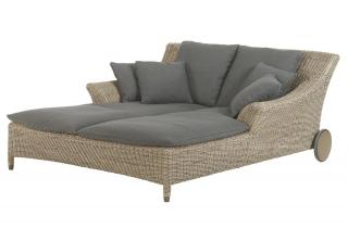 A stunning Hularo Weave sun lounger for two with all weather cushions.