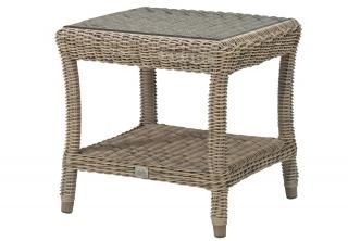 A useful small, square Hularo Weave table in natural with glass top.