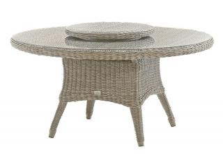 Victoria Dining Table 1.5m in Pure showing the woven Lazy Susan