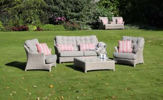 An eye-catching Hularo Weave lounge suite in a light Praia weave with padded all weather cushions.