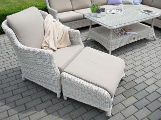 A graceful Hularo Weave armchair in natural with all weather cushions. Footstool not included.