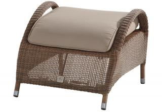 A Hularo Weave footstool in Polyloom Taupe with all weather cushion in London Taupe.