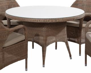 An elegant Hularo Weave dining table in Polyloom Taupe with a glass top.