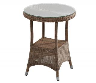 A round Hularo Weave tea for two table in Polyloom Taupe with a glass top.