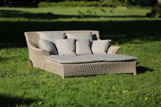 A stunning Hularo Weave sun lounger for two in Praia with all weather cushions.