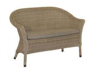 This curved Hularo Weave bench comes with an all weather seat cushion in London Taupe.