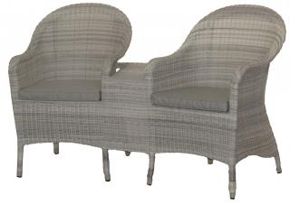 This curved Hularo Weave Love Seat comes with all weather seat cushions.