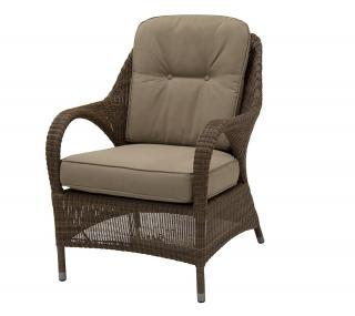 A comfy Hularo Weave armchair in Polyloom Taupe with all weather cushions in London Taupe.
