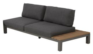 This modular aluminium & teak sofa has an in-built teak table on either the left or the right & comes with anthracite all weather cushions.