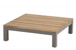 A square teak top coffee table with an aluminium base designed to complement the Fidji range.