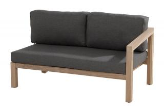 This modular teak sofa has a teak frame with an arm on the left end & comes with anthracite all weather cushions.