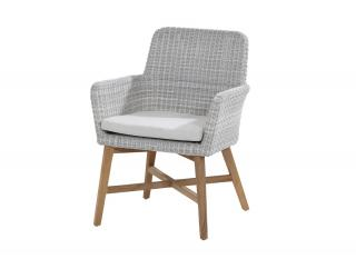 4 Seasons Outdoor Lisboa Dining Chair in Polyloom Ice with Teak legs