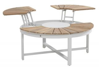 Forio Round Adjustable Teak Top Coffee Table 1.05m in Frost Grey