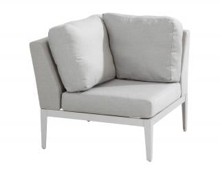 This modular corner chair has an aluminium frame with a frost grey finish & grey Sunbrella upholstery & cushions.