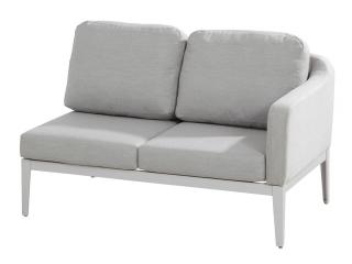This modular sofa has an aluminium frame with a frost grey finish & grey Sunbrella upholstery & cushions.