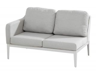 This right armed modular sofa has a frost grey aluminium frame with grey Sunbrella upholstery & cushions.
