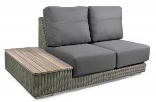 This modular Pure Hularo Weave sofa has an in-built teak table & comes with dark grey all weather cushions.