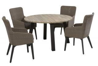 An attractive round dining set with a teak top table & woven dining chairs, all with aluminium legs in anthracite.