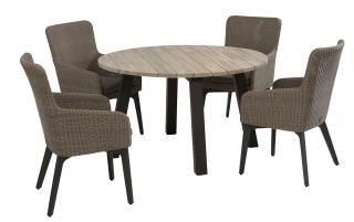 4 Seasons Outdoor Luxor 4 Seat Round Derby Dining Set