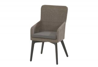 A curved Hularo Weave dining chair with a grey all weather cushion.