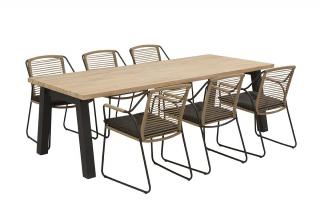 A minimalist rectangular dining set with a teak top table & padded stainless steel dining chairs.