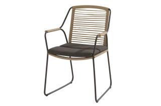 This contemporary cushioned dining chair has a stainless steel frame with an anthracite finish & rope detailing.