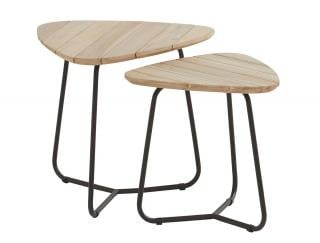 4 Seasons Outdoor Set of Two Axel Triangular Teak Top Coffee Tables
