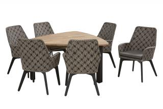 An attractive triangular dining set with a teak top table & woven dining chairs, all with aluminium legs in anthracite.