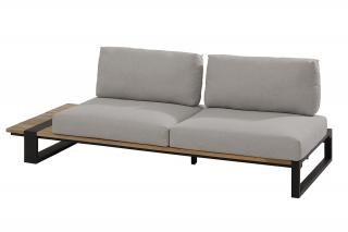 This modular aluminium & natural teak sofa has an in-built teak table on one end & comes with light grey all weather cushions.