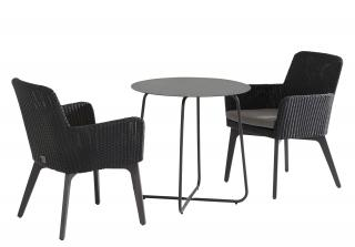This easy to maintain bistro set comes in Polyloom Anthracite Hularo weave with a choice of teak or powder coated aluminium legs in anthracite.