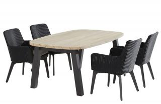 This spacious oval dining set is ideal for a small patio & is easy to maintain.